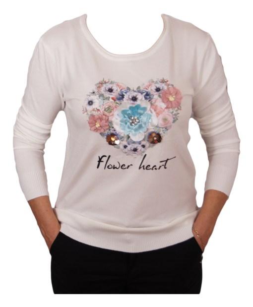 Дамски пуловер 2-390-73 цвят бял