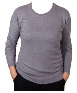 Дамски пуловер 2-387-65 цвят сив