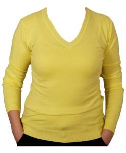 Дамски пуловер 2-387-1цвят жълт