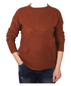 Дамски пуловер 2-385-3 цвят кафяв