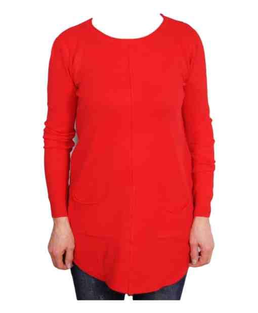 Дамски пуловер 2-384-7 цвят червен