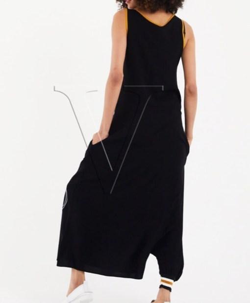 Дамска рокля 017-194-2 цвят черен с горчица