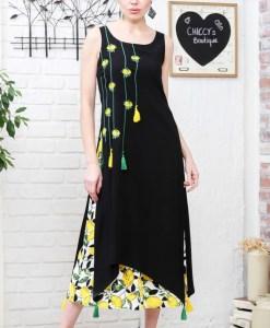 Дамска рокля 017-194-5 цвят черен