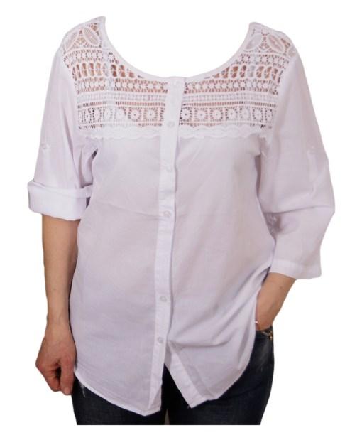 Дамска блуза XL 119-253-31 цвят бял
