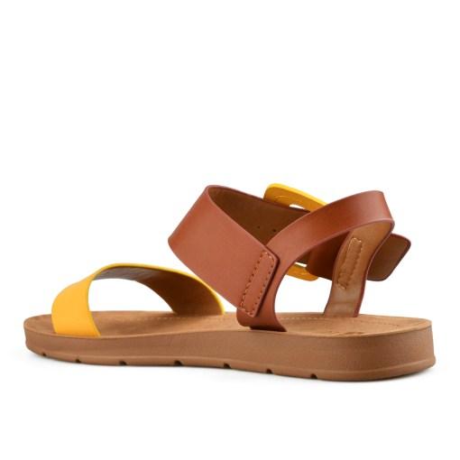 Дамски сандали 21-100 кафяво с жълто
