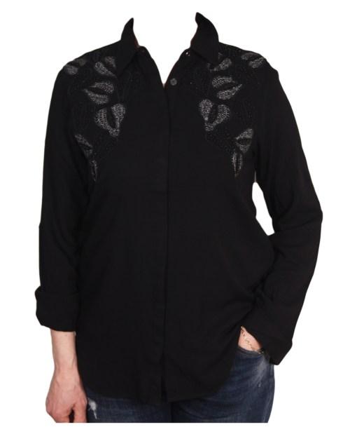 Дамска блуза 00-574-74 цвят тъмно син