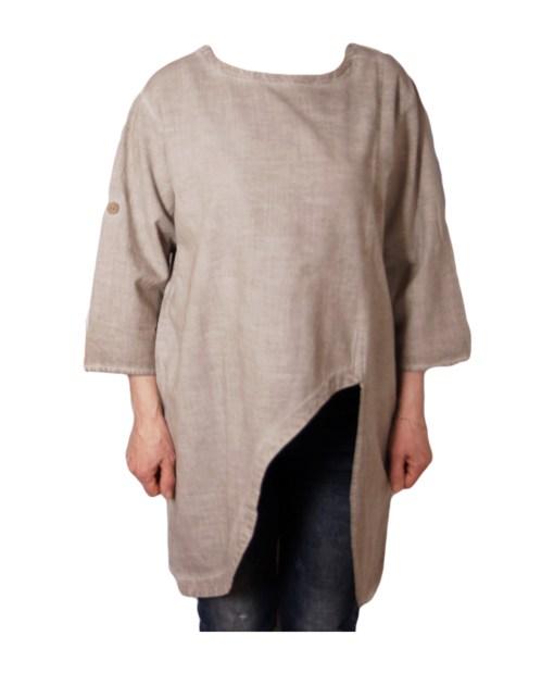 Дамска макси блуза XL 21-099-3 цвят бежов