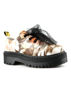 Дамски обувки 084-65 цвят кафяв Спортно-елегантни, дамски обувки . Изчистен стил, на красиви цветя в пастелни цветове.