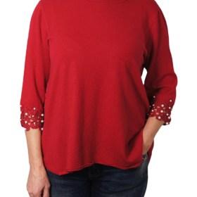 Дамски пуловер 2-385-1 цвят червен