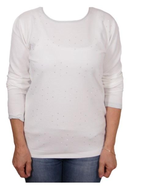 Дамски пуловер 2-386 цвят бял