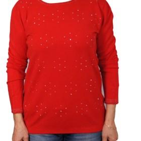 Дамски пуловер 2-386-10 цвят червен
