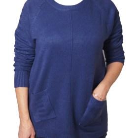 Дамски пуловер 2-389-65 цвят тъмно син