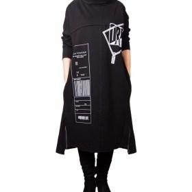 Дамска рокля 017-190-6 цвят черен