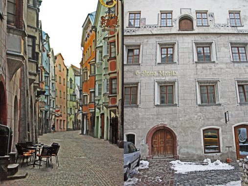 Salvatorgasse and a house facade at Eugenstrasse (do you see the little door on the third floor?), Hall in Tirol