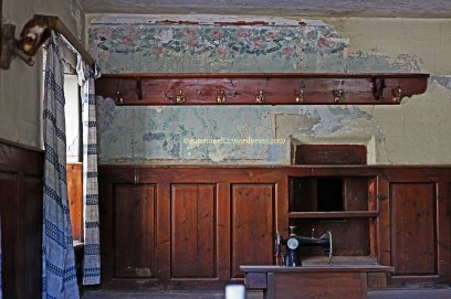 Abandoned house - old wall murals in the living room