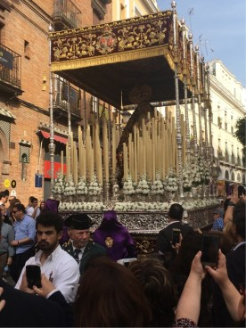 A Float or Paso with a statue of the Virgin Mary
