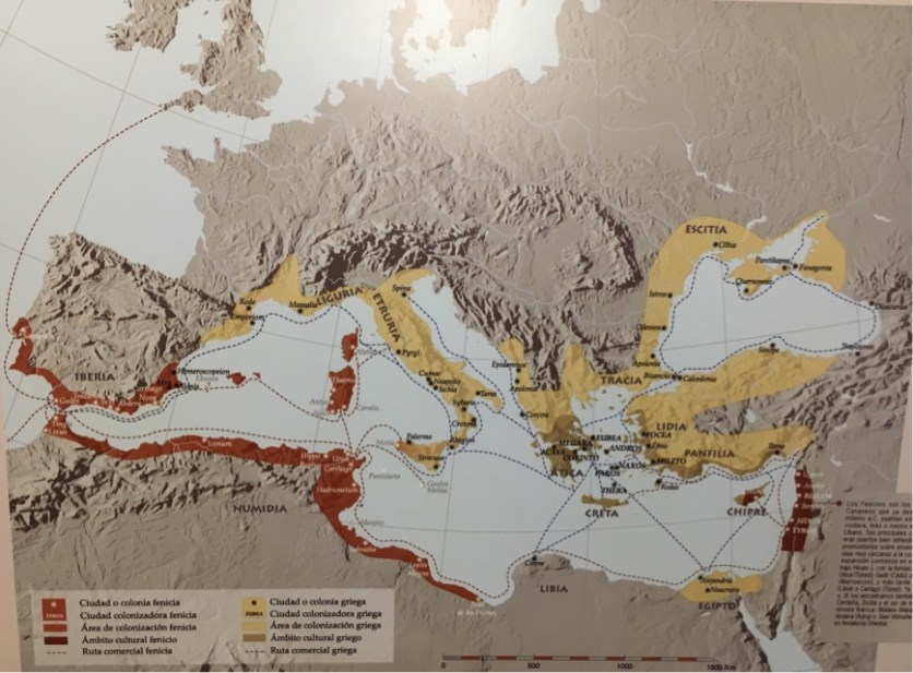 Phoenician expansion (in red) in the Mediterranean with the rising Roman Empire in yellow.