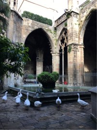 Cathedral Cloisters with the 13 St Eulalia Commemorative Geese