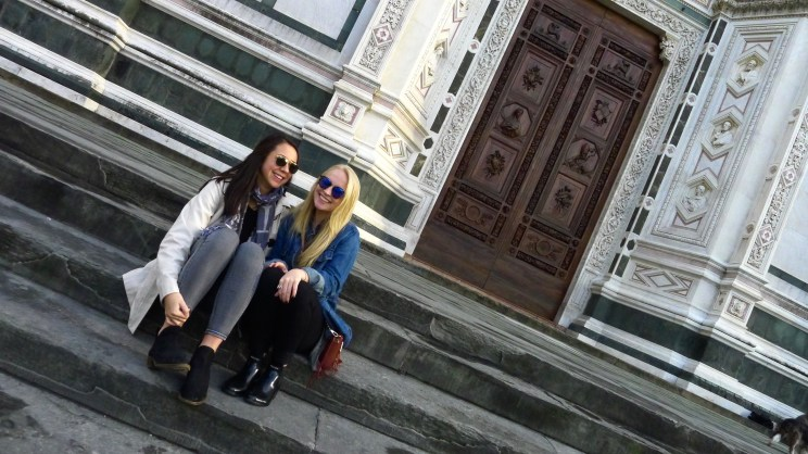 Sitting on the steps of Santa Croce