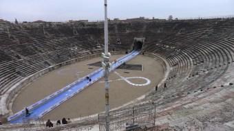 Half marathon being set up through the arena