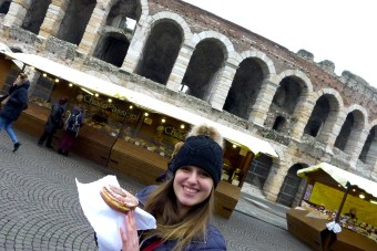 Casey with her nutella pastry