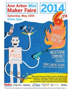 A2 Mini Maker Faire poster from 2014 with robot and blow torch