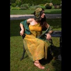 """The Nymph Callisto Ensemble"" by Anne Flora Nuno-felted arashi shibori-dyed silk and merino wool fiber www.floraworks.org"