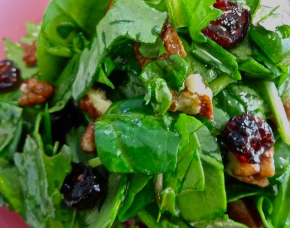 Spinach and Kale Salad with Pecans, Dried Cherries, and Maple Citrus Dressing