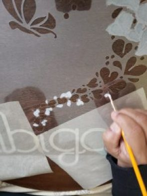 Painting stencil by hand