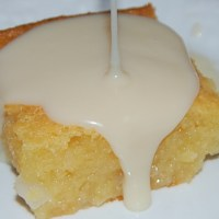 Cassava Cake with Coconut and White Chocolate Sauce