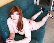 Anna Secret Poet, auburn hair pink thong