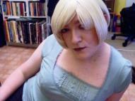 Anna Secret Poet, blonde hair kitchen