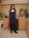 Anna Secret Poet, brown hair blue dress