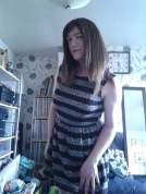 Anna Secret Poet stripey skater dress