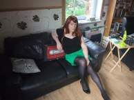 Anna Secret Poet Green Skirt on Couch 1
