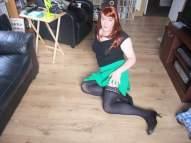 Anna Secret Poet Green Skirt on Floor