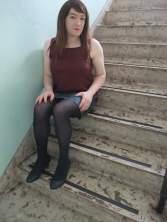 Anna Secret Poet Denim Skirt on Stairs 1