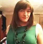 Anna Secret Poet Green Dress Smiling Demurely