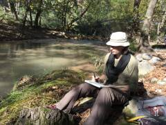 sketching by the creek