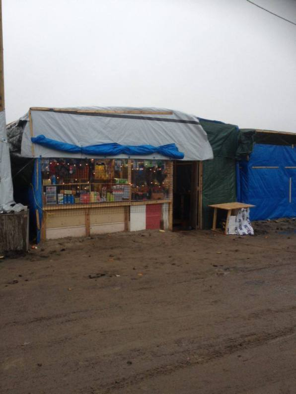 A shop in the Calais camp where this is much more infrastructure than in Dunkirk