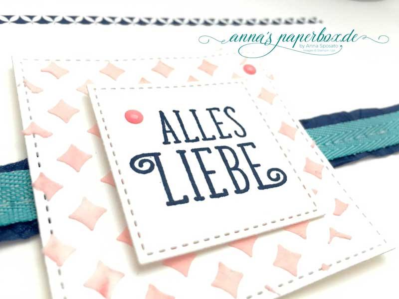 Geburtstagskarte mit Stampin Up Produkten - Alles Liebe zum Geburtstag - Marineblau - Bermudablau - Flamingorot