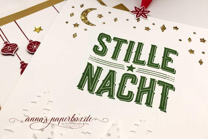 Goldene Weihnachtsgruesse - Karte und Geschenktüte mit Produkten von Stampin Up - Wie ein Weihnachtslied