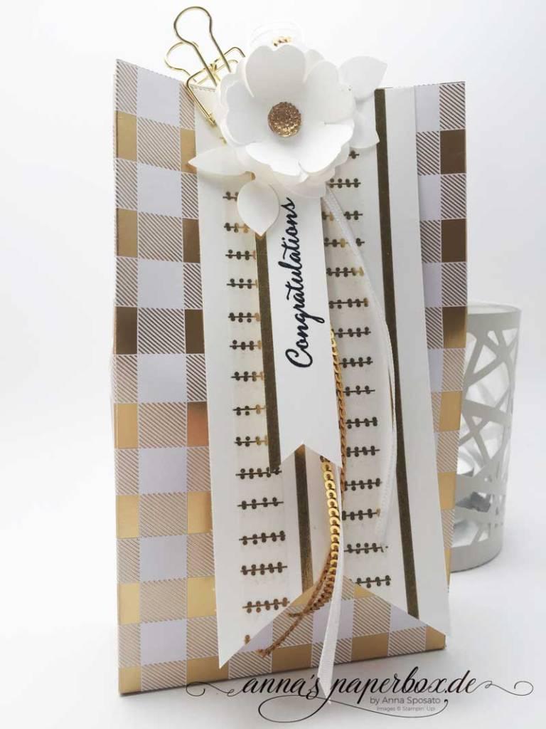 Verpackung mit Stampin Up Produkten - Designerpapier Winterfreuden, Stemelset Balloon Celebration
