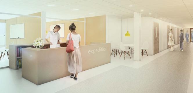 Danderyds sjukhus, vårdbyggnad etapp 1, illustration från Locums programhandling