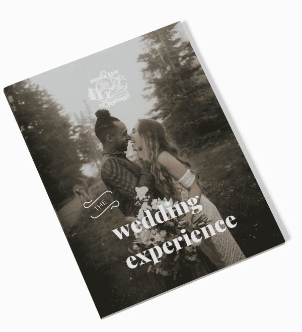 """A mockup of the wedding guide is lying on a white background. On the cover is a photo of a couple after their wedding ceremony, and the caption reads """"the wedding experience."""""""