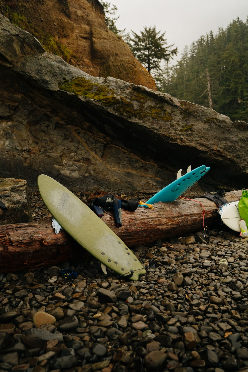 A surfboard is leaning on driftwood at Short Sands Beach.