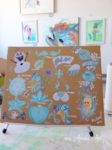 A few Ms Anna alterations on the Frozen theme- Creations by Elsa like Frozen Mustache, Frozen Kitty, Frozen Butterfly, and Frozen Flower Fairy Princess