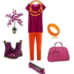 Come abbinare radiant orchid all'arancione