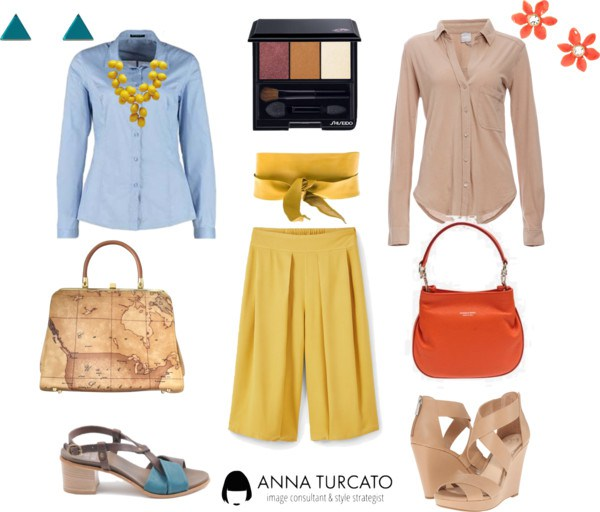 The yellow pants di annaturcato contenente chains jewelry