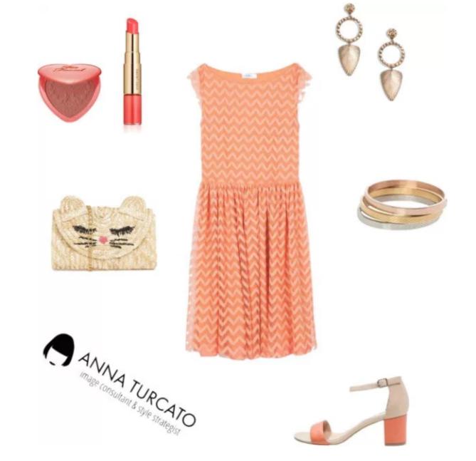 Coral dress by annaturcato featuring a cream purse